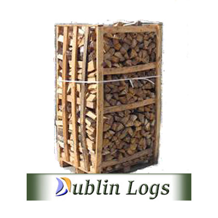 Crate of staked Oak firewood in a 2 cubic meter crate